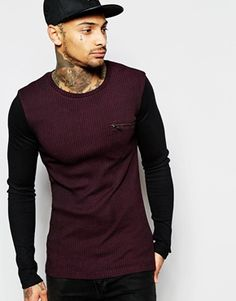 ASOS Rib Extreme Muscle Long Sleeve T-Shirt With Zip Pocket