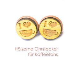 Holzohrstecker - Ohrstecker Kaffee - ein Designerstück von SchmuckNatur bei DaWanda