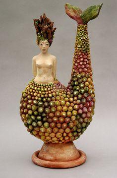 Mermaid, Ceramic sculpture   By LisaLeeSculpture.com
