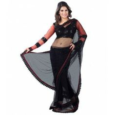 #Designer Suit #Party Wear Saree Shop now : http://www.valehri.com/black-net-with-inner-with-free-size-sitiched-blouse-1581