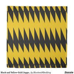 Black and Yellow-Gold Jagged Pattern Duvet Cover