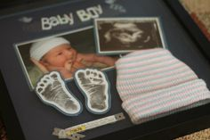 I like how she cut out feet imprint! Shadow box for baby with items from hospital (had the nurse stamp his feet a time so she could use them) :) Gorgeous! Diy Baby Gifts, Baby Crafts, Baby Boy Rooms, Baby Room, Ultrasound Scrapbook, Newborn Shadow Box, Baby Scrapbook Pages, Foot Prints, Baby Carriage