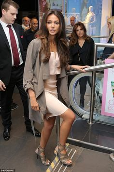 Michelle Keegan accentuates her petite curves in snug grey dress #dailymail - NOTE how the jacket & shoes match