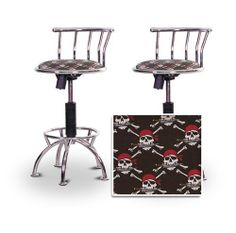 "2 24""-29"" Pirate Skull & Crossbones Themed Seat Chrome Adjustable Specialty / Custom Barstools Set by The Furniture Cove. $198.88. Swivel Seat. Pirate Skull and Crossbones Fabric Print Seat. Chrome Metal Finish. Back Rest and Foot Rest. 24"" to 29"" Adjustable Seat Height. These have a fitting appearance for a wide variety of places. They look and feel great, feature a pirate skull & crossbone fabric print seat, and are impressively versatile. The frame is made ..."