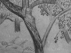 """SERUSIER Paul - Le Verger (Louvre RF40965-Recto) - Detail 08  -  TAGS/ details détail détails detalles drawing drawings dessins dessin croquis étude study studies sketch sketches """"dessins 19e"""" """"19th-century drawings"""" croquis étude study studies sketch sketches """"dessin français"""" """" French drawings"""" """"peintres français"""" """"French painters"""" Louvre Paris France Musée museum arbres tree trees trunk orchard grove nature"""