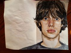 Young Mick Jagger. watercolor and colored pencil