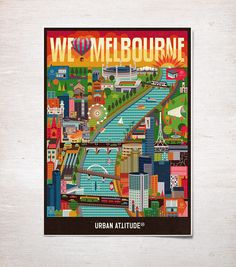 We Love Melbourne by Jimmy Gleeson in Colorful Map Illustration Designs
