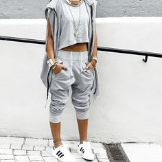 | Pinterest: •❂ TribalModa | • swag • fashion • ootd • outfits • dope outfit • style • cute • urban chic • fashionable • street style • Adidas • gray sweat suit pants and shirt • minimal top •