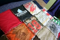 T-shirt blanket for all those old jerseys and t-shirts.  Love it!