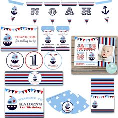 NAUTICAL INVITATION and PARTY Pack of Printables for birthday party with Boat - Bunting Banner Cupcake Toppers Favor Tags Buffet Cards Hats Nautical Invitations, Navy Marine, Bunting Banner, Party Packs, Favor Tags, Cupcake Toppers, First Birthdays, Buffet, Favors