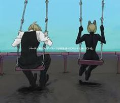 Celty and Shizuo on swings