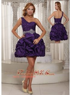 Eggplant Purple One Shoulder Beading and Pick-ups Mini-length Prom Dress For Party  http://www.fashionos.com/  http://www.facebook.com/quinceaneradress.fashionos.us  Get the look all your friends will envy in this amazing one shoulder prom dress. A super cute purple dress for junior prom, sweet sixteen celebrations, or any special occasion when you want to look your best. The sparkling beadings on the waistband give this teen cocktail dress a festive style that youthful and chic.