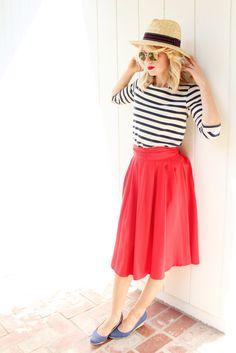 navy stripes + red skirts