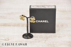 CHANEL CC Logo Gold Plated Hook Earrings