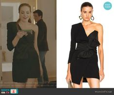 Fallon's black one shoulder bow waist dress on Dynasty Dance Fashion, Fashion Tv, Chloe Drew Mini, Classy Business Outfits, Dress Outfits, Fashion Dresses, Movie Inspired Outfits, Tv Show Outfits, Western Outfits