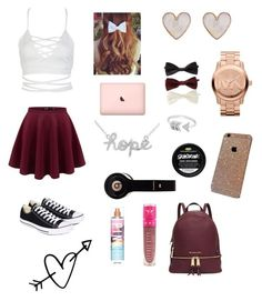 """""""Here is #1"""" by enchantedgirl44220 ❤ liked on Polyvore featuring Sydney Evan, Michael Kors, New Look, WithChic, Forever 21, Converse, Jeffree Star, EF Collection and Victoria's Secret"""