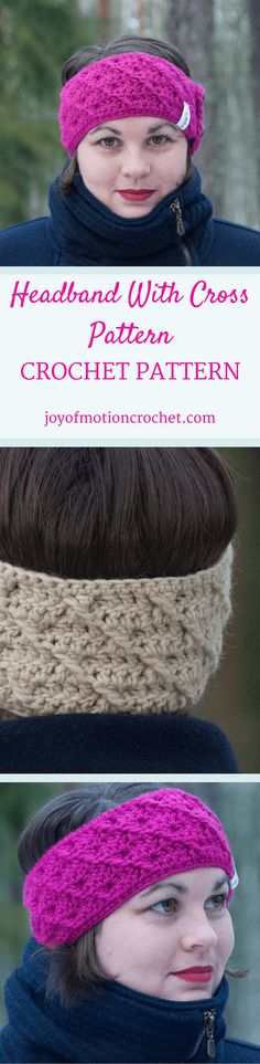 The Headband with cross pattern. Crochet pattern for a warm winter headband.| Headband crochet patterns.. Beanie crochet patterns. Warm crochet pattern. Headband crochet designs. Easy patterns. Winter crochet patterns. Customize crochet pattern headband. Women's crochet pattern headband. Crochet pattern headband. Headband crochet pattern unisex. Click link to learn more. via @http://pinterest.com/joyofmotion/