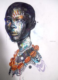 I came across these amazing drawings of African women by South Korean artist Minjae Lee and thought I'd share them here. Art And Illustration, Illustration Inspiration, African American Art, African Art, Tribal African, African Beauty, African Design, Graffiti, Street Art