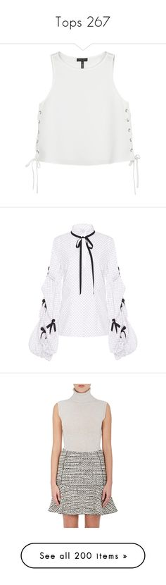 """""""Tops 267"""" by katiemarilexa ❤ liked on Polyvore featuring tops, blouses, laced tops, champagne top, lace up front blouse, lace front top, lace up top, print, bow print top and v neck blouse"""