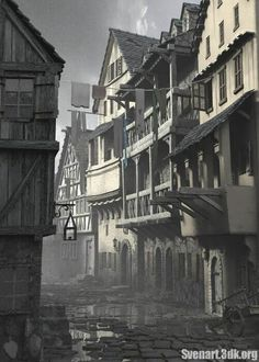 """. . . they'd all given him vague directions that sent him around that corner, down that street, past that house, away from the riverside and deeper into the poor quarters of Trentan, where the streets didn't have names and the houses sagged and tilted like overweight drunk men."""
