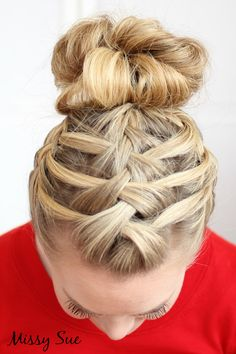 Triple french braid double waterfall updo.