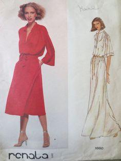 Vintage Vogue 1860 Sewing Pattern, Renata Designer,1970s Dress Pattern, 70s American Hustle, Bust 32.5, Pullover Dress, Kimono Sleeve, Disco
