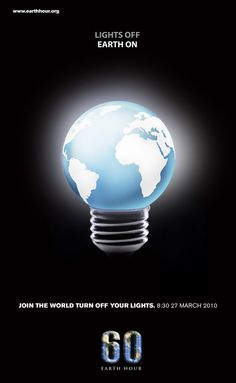 Earth Hour 1 by Leeauzi on DeviantArt Earth Hour Day, Wwf Poster, Dream Background, Happy Earth, Book Week, Advertising Design, Save Energy, Light Up, Bulb