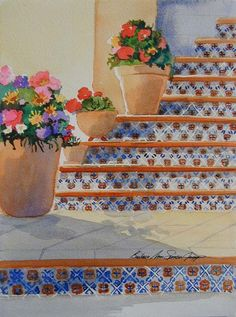 Stairway - Southwest Art Print - Stairway at Talquepaque Mexican Tiled Stairs with Flowers Tile Stairs, Southwest Decor, Painted Stairs, Watercolor Paintings, Watercolours, Stairways, Artsy, Mexican, Wall Decor