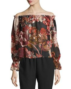 ELIZABETH AND JAMES REMI PRINTED SILK OFF-THE-SHOULDER TOP, MULTICOLOR. #elizabethandjames #cloth #