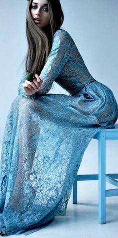 Stunning blue lace dress.