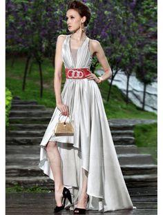 fadb9497b43 Sleeveless Halter Neck High Low Silver Prom Dress with Red Waistband Cheap  Elegant Dresses