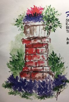 art impressions - watercolor - markers - catalog photo - flowering garden post