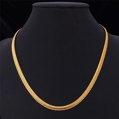 """Details: - Material Type: 18K Gold Plated or Platinum Plated - Chain Length: 18"""" - 26"""" - Chain Type; Snake Chain - Clasp Type: Lobster Package Content: 1 chain necklace, paper card, OPP bag, silk pouch (gift) Shipping is 5-10 business days. Check our Exclusive Golden Collection"""
