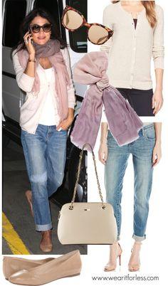 Boyfriend jeans, white tee, boyfriend cardigan, nude flats, scarf