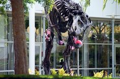 Tyrannosaurus Attacked by Flamingos Tyrannosaurus Rex Skeleton, Google Halloween, Flamingo Pictures, Picture Credit, Pink Flamingos, T Rex, Arts And Crafts, Scene, Design Inspiration