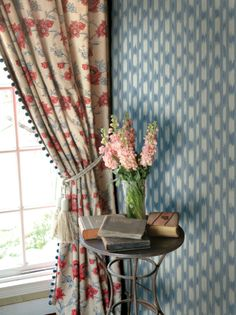 Lucienne wallpaper in color La Mer from the French General Wallcovering collection for Fabricut.