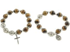 Sterling Silver Double Elastic Rosary Bracelet, Tiger Eyes 10mm Beads
