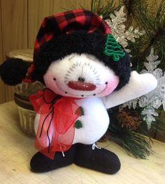 Primitive HC Raggedy Rustic Snowman Snowflake Christmas Doll 7.5 Super Cute! #IsntThatCute #Christmas
