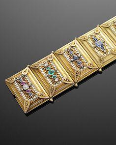 An Antique Archeological Revival Jeweled Bracelet, circa 1860