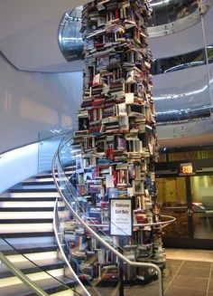 Ford's Theatre Center for Education and Leadership in Washington, DC, this 34-foot pillar of literature includes over 15,000 unique titles about the United State's 16th president, Abraham Lincoln. The museum is set to open before President's Day 2012.  Permanent installation - not real books, but real book covers, and 7000 of the aproximate 15000 written about Lincoln!