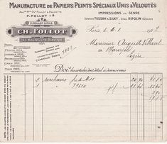 1924 French Receipt for Wallpaper Vintage Crafts, Vintage Paper, Vintage Clip, Vintage Pins, Vintage Items, Old Letters, Collage Background, Craft Free, Vintage Lettering