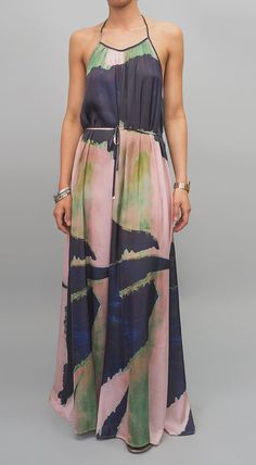 Navy Blue Origami Abstract Open-Back Halter Maxi Dress