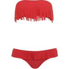 Miss Selfridge Fringe Bandeau Bikini ($38) ❤ liked on Polyvore featuring swimwear, bikinis, swimsuits, bathing suits, swim, coral, fringe bandeau bikini, bandeau bathing suits, fringe swimsuit and bikini bathing suits