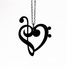 Treble & Bass Clef Heart Necklace Laser Cut Acrylic by CABfayre
