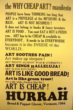 The Why Cheap Art Manifesto