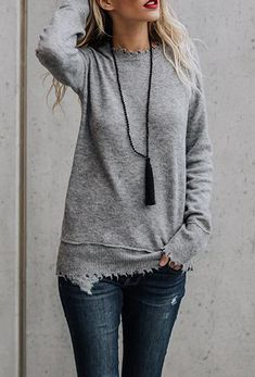 $37.99! Stylish Frayed Solid Color Sweatershirt fashion spring outfits