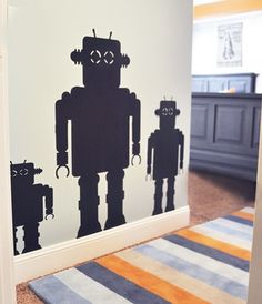 I have this set of three chalk board robots in my boys room.  They LOVE, LOVE, LOVE them.