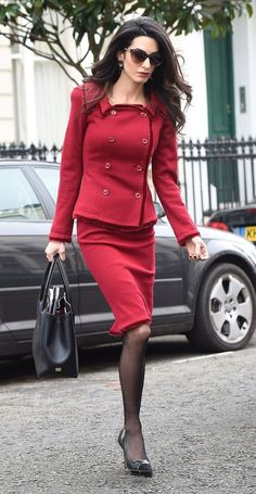 Amal Alamuddin Clooney In a Red Power Suit, the Ultimate Work Inspiration: (http://www.racked.com/2016/1/25/10826538/amal-clooney-red-suit)