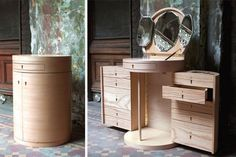 The debut home collection by Karlin includes an expandable cabinet/vanity. Photos: Don Freeman, courtesy of Anna Karlin Smart Furniture, Space Saving Furniture, Deco Furniture, Home Decor Furniture, Bedroom Furniture, Diy Home Decor, Furniture Design, Bedroom Decor, Home Collections
