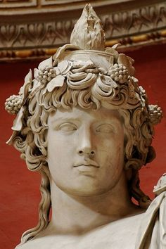 Colossal Roman Statue Detail of Antinous (lover of Hadrian) as Dionysos-Osiris (ivy crown, head band, cistus & pine cone) -- Marble -- Vatican Museums